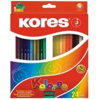Pastelky Kores Kolores - trojhranné, 24 ks + ořezávátko zdarma