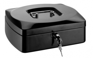 Přenosná pokladna RON - uzamykatelná, kovová, 255x200x90 mm, černá