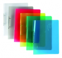 Dvoukroužkový pořadač A4 - hřbet 2 cm, plastový, transparentní červený