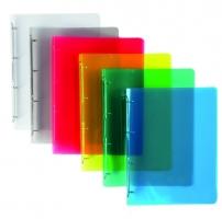 Čtyřkroužkový pořadač A4 - hřbet 2 cm, plastový, transparentní modrý