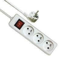 Prodlužovací kabel - s vypínačem, 3 zásuvky, 3 m, bílý