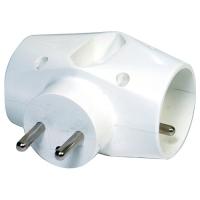 Rozbočovací zásuvka - 2x kulatá, 1x plochá, bílá