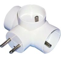 Rozbočovací zásuvka - 3x kulatá, 1x plochá, bílá