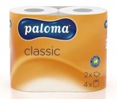 Toaletní papír Paloma Classic - dvouvrstvý, 100% celulóza, s ražbou, bílý, 150 útržků, 4 role