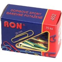 Barevná kancelářské sponky RON 452B - 28 mm, mix barev, 75 ks
