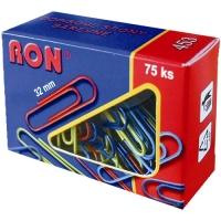 Barevná kancelářská sponka RON 453B - 32 mm, mix barev, 75 ks