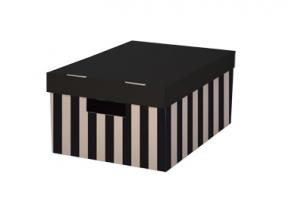 Archivační box s víkem - 280x370x180 mm, hnědo/černý, 2 ks
