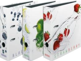 Pákový pořadač A4 KV8R Herlitz  - 8 cm, lesklé lamino, strawberries