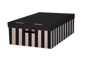 Archivační box s víkem - 560x370x180 mm, hnědo/černý, 2 ks