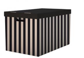 Archivační box s víkem - 560x370x360 mm, hnědo/černý, 2 ks