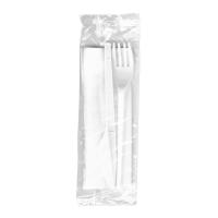 Příborová sada (nůž, vidlička, ubrousek) - hygienicky balená, bílá, 100 ks - DOPRODEJ