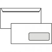 Poštovní obálka DL - s okénkem, krycí páska, 110x220 mm, bílá, 10 ks