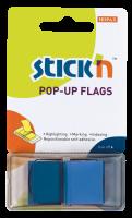 Samolepící záložka Stick n Hopax Pop - Up Flags - 45x25 mm, plastová, 50 listů, modrá
