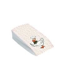 Sáček na grilované kuře 1/2 - s potiskem, dvouvrstvý, 10,5+5,5x24 cm, papír/PE, bílý, 100 ks