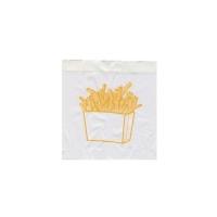 Papírový sáček na hranolky - s potiskem, 10+5x11 cm, bílý, 300 ks