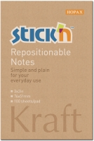 Samolepící bloček Stick n Hopax Kraft Notes - 76x51 mm, 100 listů, z přírodního hnědého papíru