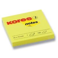 Samolepící bloček Kores - 75x75 mm, 100 listů, žlutý