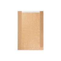 Papírový sáček na pečivo s okénkem - kulatý chléb, 26+7x40 cm, hnědý, 1000 ks