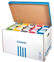 Archivační box Donau - 565x370x315 mm, bílý/modrý
