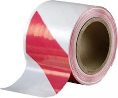 Výstražná ohraničovací páska - 80 mm x 250 m, červeno-bílá