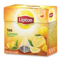 Černý čaj Lipton - pyramidový, lemon, 20 sáčků - DOPRODEJ