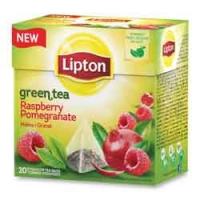 Zelený čaj Lipton - pyramidový, raspberry pomegranate, 20 sáčků - DOPRODEJ