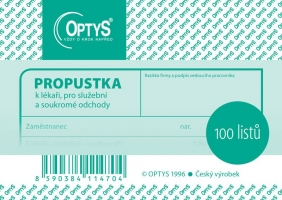 Propustka Optys - A7, 100 listů