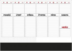 Stolní plánovací podložka - s lištou, A2, týdenní, 50 listů