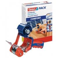 Ruční odvíječ balící pásky Tesa Comfort - pro rozměr 50 mm x 60 m, červeno-modrý