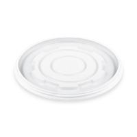 Kulaté plastové víčko pro termo misku na polévku 340-680 ml - PS, transparentní, 50 ks- DOPRODEJ