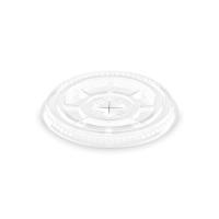 Plastové víčko na kelímek PET 78 mm - ploché s křížovým otvorem, transparentní, 50 ks