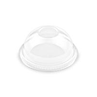 Plastové víčko na kelímek PET 78 mm - vypouklé bez otvoru, transparentní, 50 ks