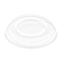 Plastové víčko na kelímek PET 95 mm - ploché bez otvoru, transparentní, 50 ks