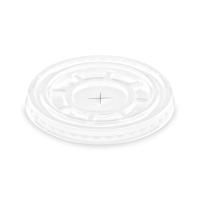Plastové víčko na kelímek PET 95 mm - ploché s křížovým otvorem, transparentní, 50 ks