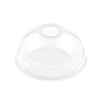 Plastové víčko na kelímek PET 95 mm - vypouklé s otvorem, transparentní, 50 ks