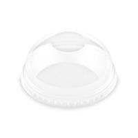 Plastové víčko na kelímek PET 95 mm - vypouklé bez otvoru, transparentní, 50 ks