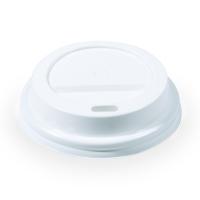 Plastové víčko na kelímek Coffee to go - průměr 73 mm, s dírkou, bílé, 100 ks