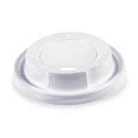 Plastové víčko na kelímek Coffee to go - průměr 80 mm, s dírkou, bílé, 100 ks