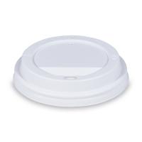 Plastové víčko na kelímek Coffee to go - průměr 90 mm, s dírkou, bílé, 100 ks