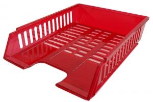 Odkládací zásuvka - plastová, 37x27x7 cm, transparentní, červená