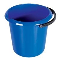 Plastový kbelík 11 l - s výlevkou, s uchem,  modrý