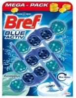 Závěsný WC blok Bref Blue Aktiv - eucalyptus, kuličky, 3x50 g