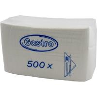 Papírové ubrousky Gastro - 33x33 cm, jednovrstvé, 100% celulóza, bílé, 500 ks
