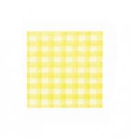 Papírové kostkované ubrousky KARO - 33x33 cm, jednovrstvé, 100% celulóza, žluté, 50 ks