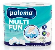 Kuchyňské utěrky Paloma Multi Fun XL - role, třívrstvé, 100% celulóza, s potiskem, 16,5 m, bílé, 2 role