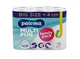 Kuchyňské utěrky Paloma Multi Fun Family pack - role, prodloužené, třívrstvé, 100% celulóza,  12,2 m, bílé, 6 rolí