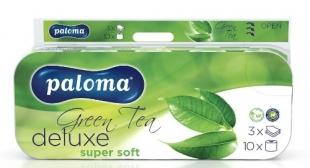 Toaletní papír Paloma DeLuxe Green Tea - extra jemný, třívrstvý, 100% celulóza, parfém zelený čaj, potisk květiny, 150 útržků, 10 rolí