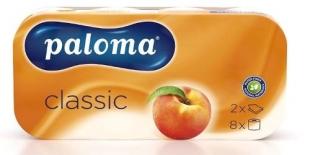 Toaletní papír Paloma Classic - dvouvrstvý, 100% celulóza, parfém broskev, s ražbou, bílý, 150 útržků, 8 rolí
