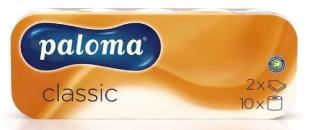 Toaletní papír Paloma Classic - dvourvstvý, 100% celulóza, s ražbou, 150 útržků, bílý, 10 rolí - DOPRODEJ