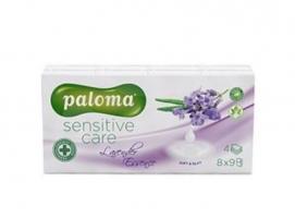 Papírové kapesníčky Paloma Sensitive Care Lavender - čtyřvrstvé, 100% celulóza, vůně levandule, 8 balíčků
